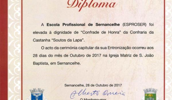 """ESPROSER elevada a """"Confrade de Honra"""" da Confraria da Castanha """"Soutos da Lapa"""""""